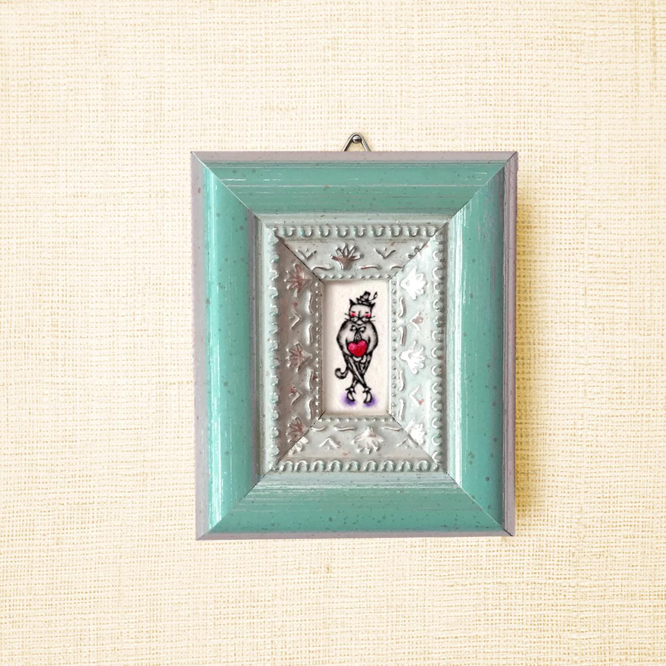 ミニ額縁 原画【 愛の配達人 】cat ver. / mini size frame