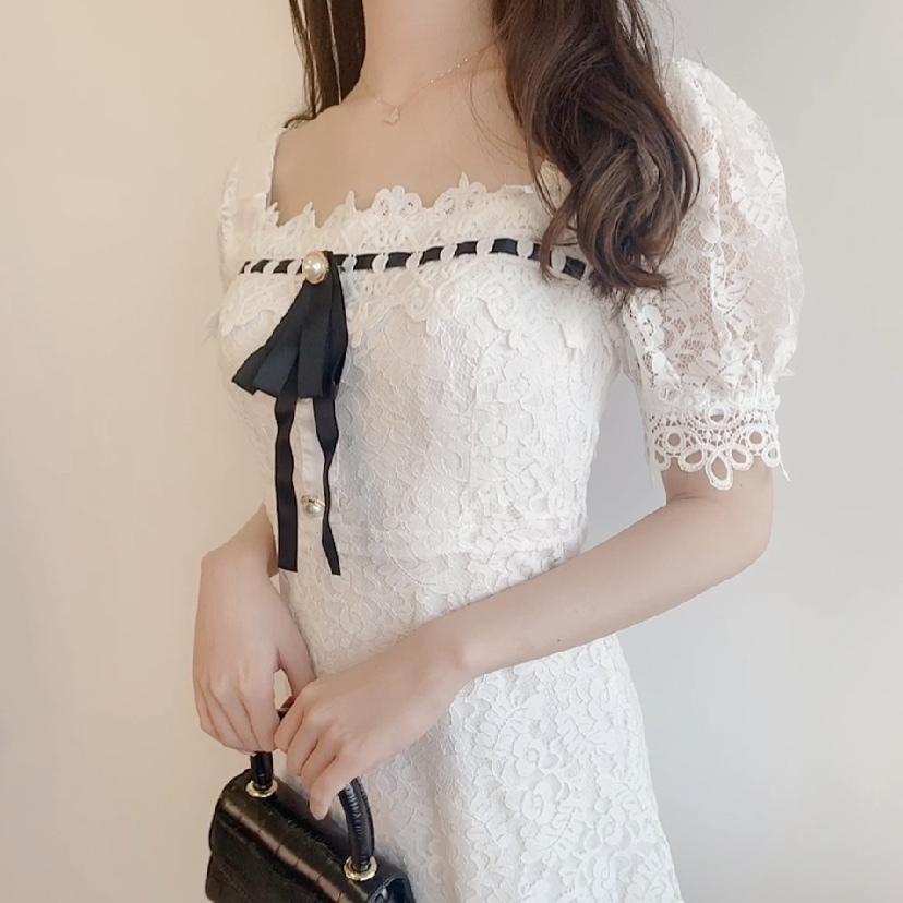 【即納】エレガント刺繍レースドレス