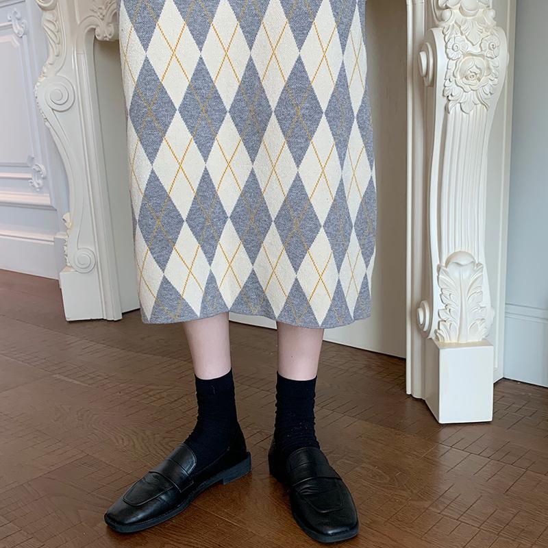 アーガイルチェックニットスカート【argyle check knit skirt】