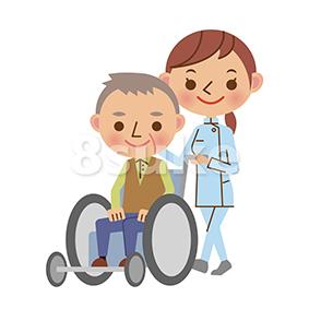 イラスト素材:老人の車いすを押す介護士の女性(ベクター・JPG)