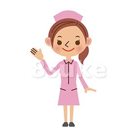 イラスト素材:片手を上げて案内する看護師/ナース(ベクター・JPG)