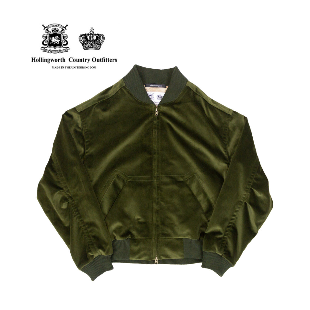 Hollingworth Country Outfitters ベロア ボンバー ジャケット 〈Green〉