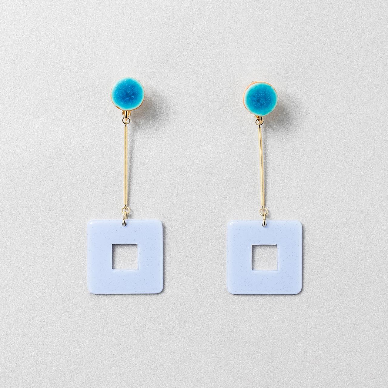 陶器 信楽 スクエア ピアス&イヤリング turquoise blue