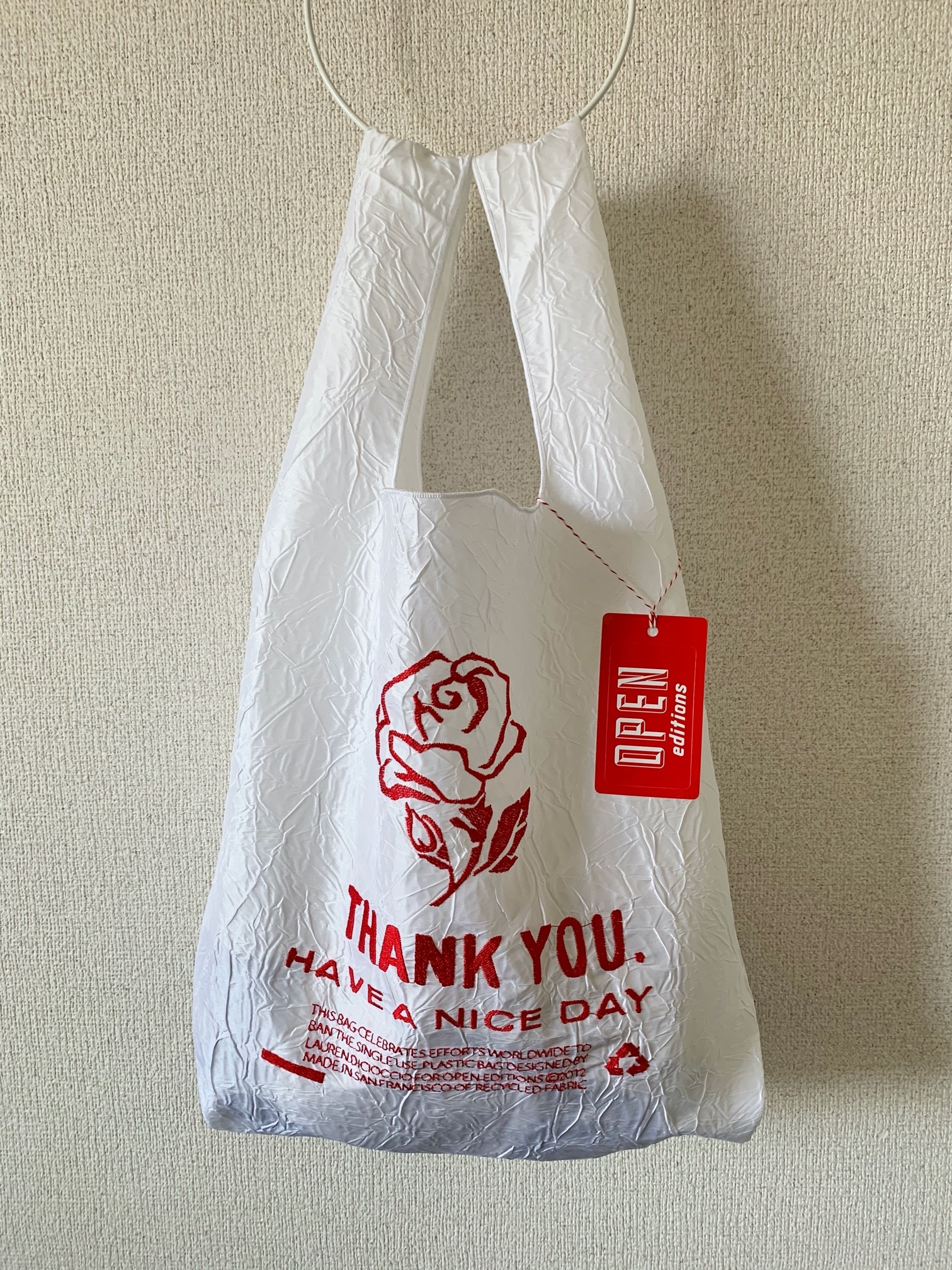 【OPEN EDITIONS】THANK YOU TOTE エコバッグ/ ROSE White