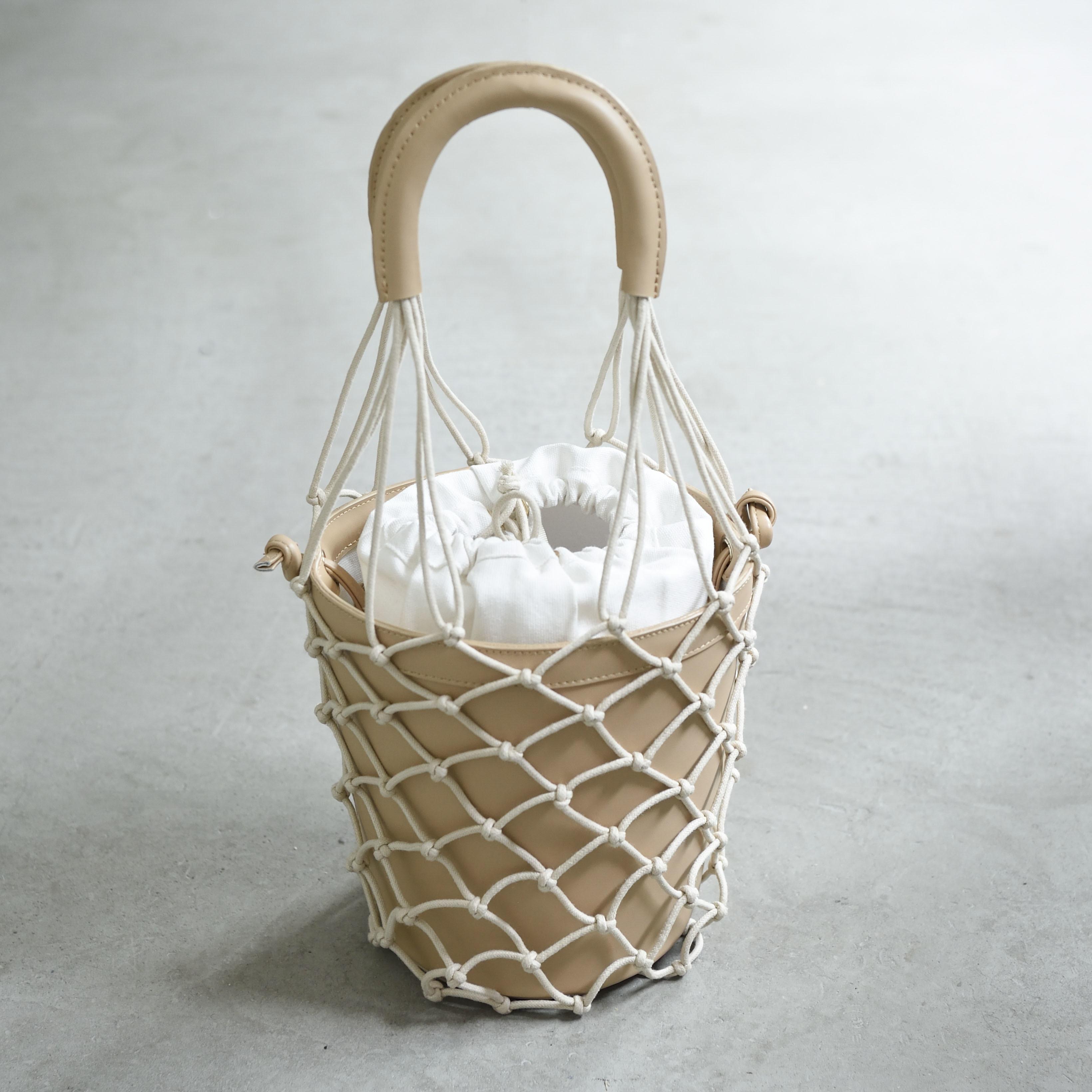 【Mesh-Leather-Basket 】Beige
