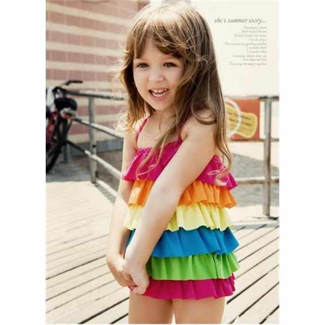 35afba4343bbe8 超かわいい レインボー カラー ふりふり フリル 女児 水着 子供 虹 可愛い女の子 みずぎ キッズ