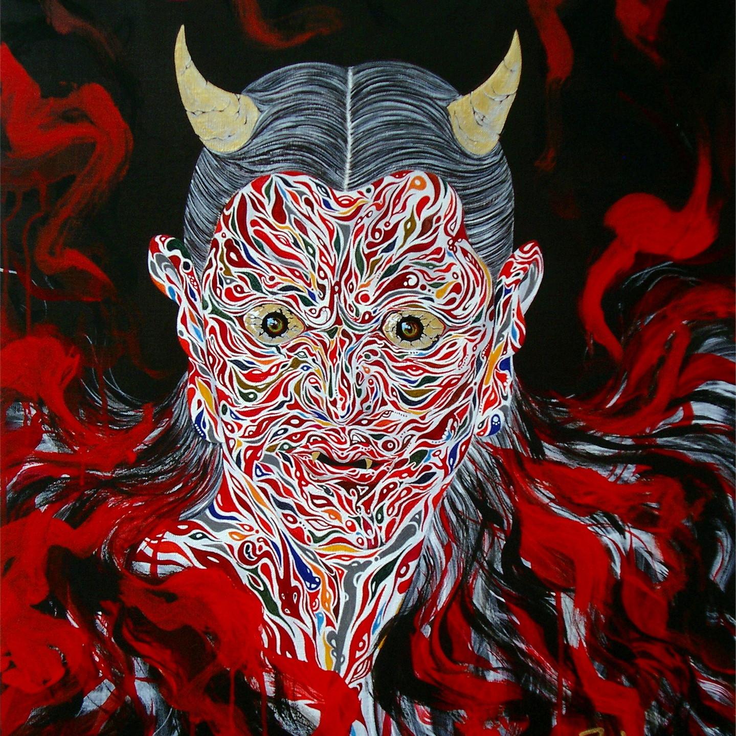 絵画 インテリア アートパネル 雑貨 壁掛け 置物 おしゃれ 和 和風アート 現代アート ロココロ 画家 : nob 作品 : 夜叉