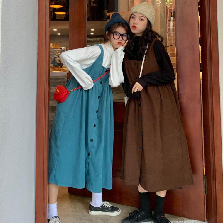 【送料無料】 ラフでもかわいい♡ ハイネック カットソー × フロントボタン ジャンパースカート ワンピース セットアップ