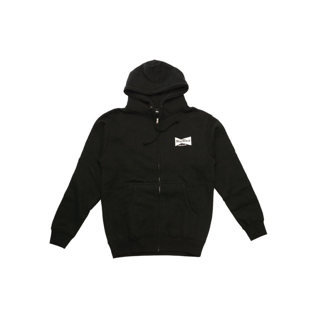 Stay Black Bud Logo Zip Hoody - Black