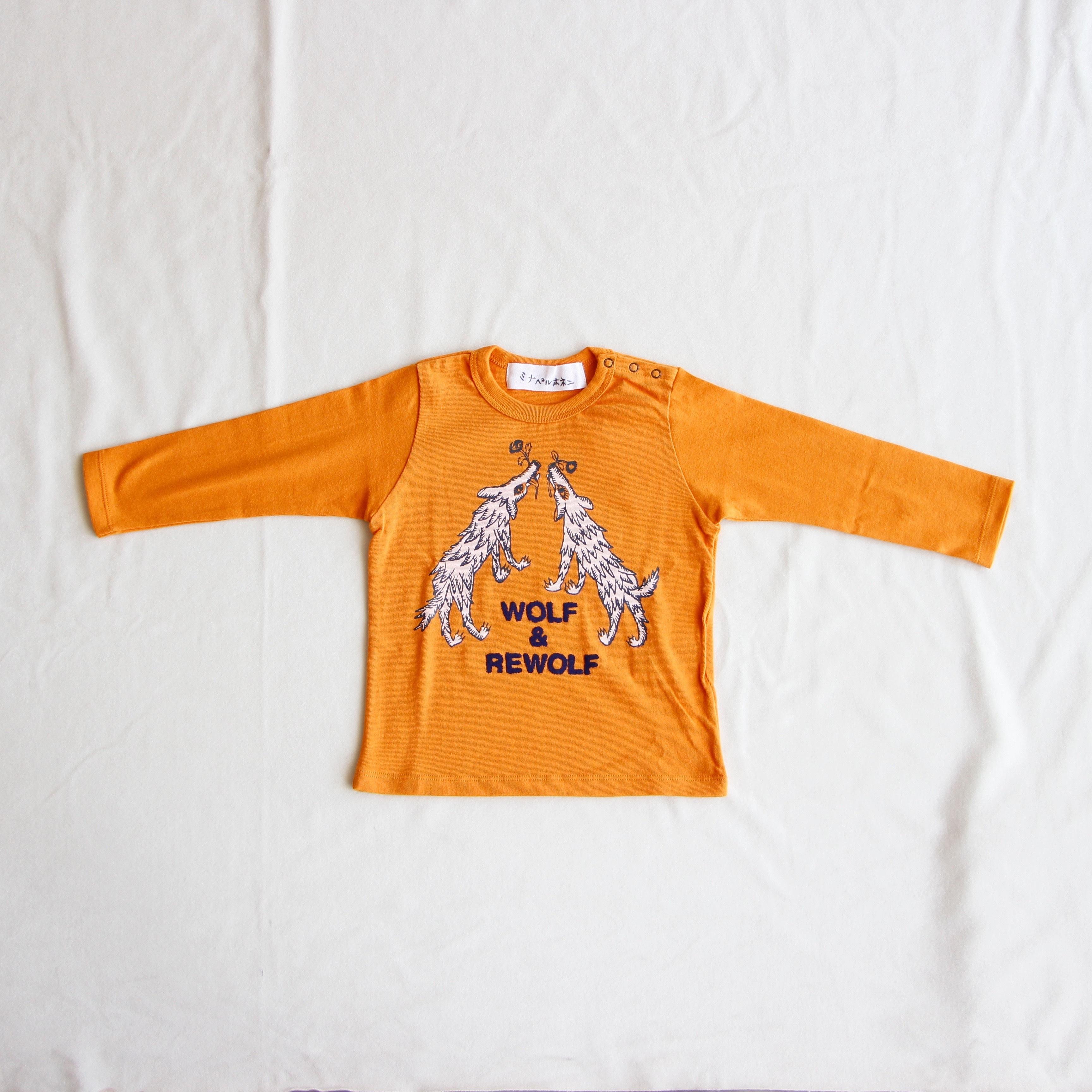 《mina perhonen 2016AW》wolf & flower ロングスリーブTシャツ / orange