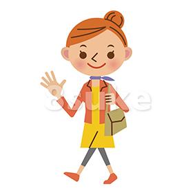 イラスト素材:歩く女性(ベクター・JPG)