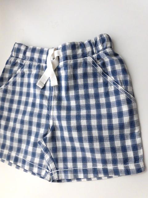 オーガニックコットン ネイビーチェックハーフパンツ ベビー服 【purebaby】
