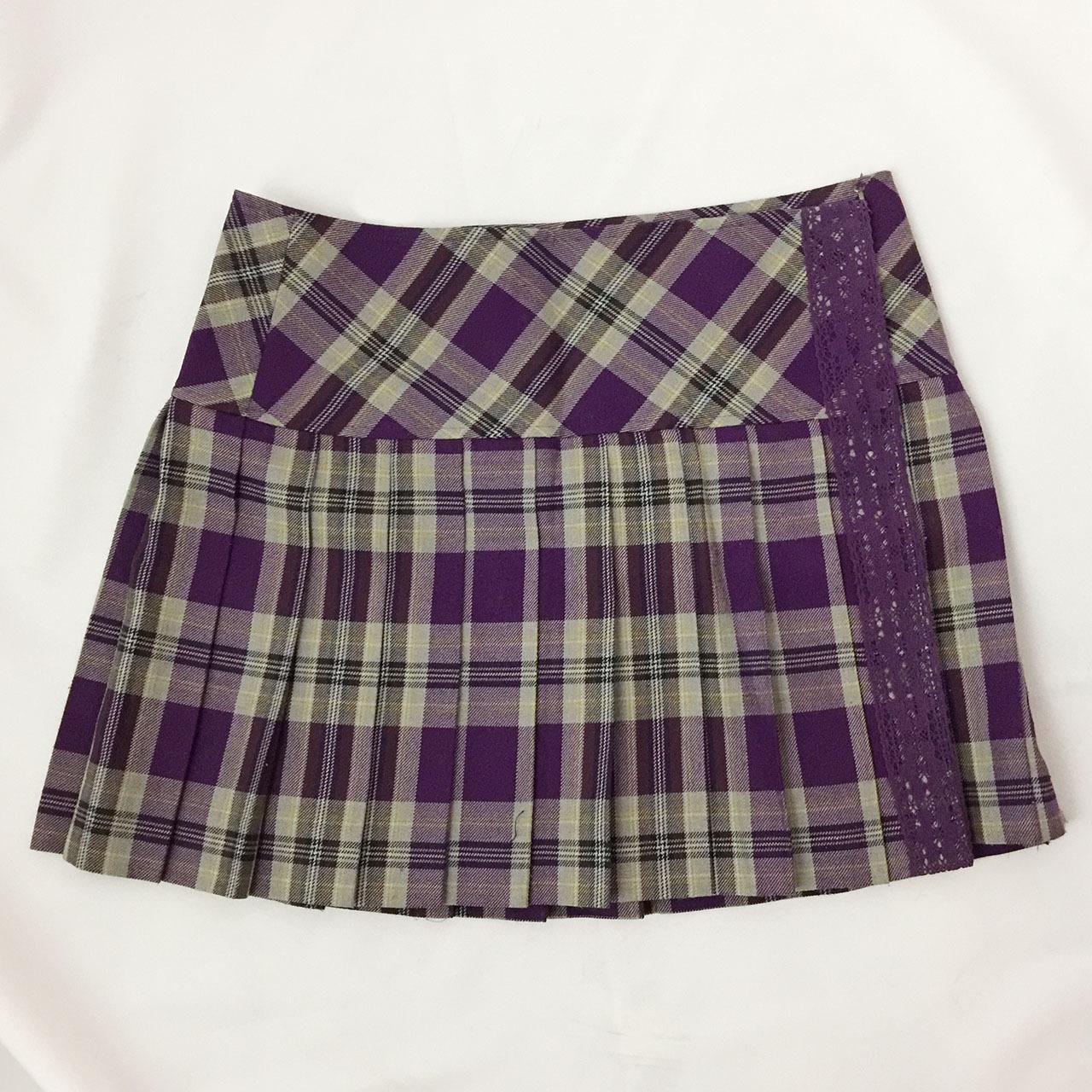 パープルチェックプリーツスカート