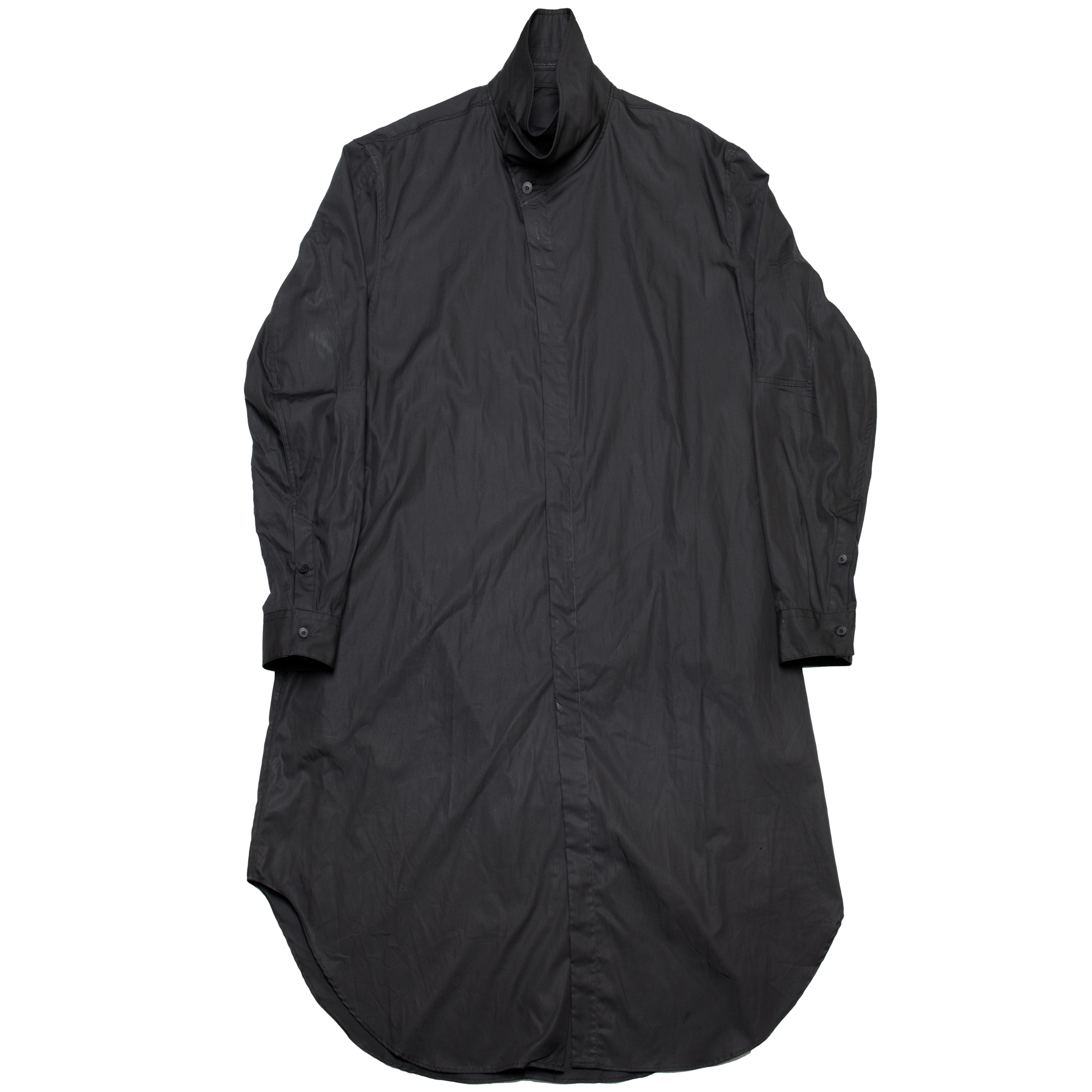 637SHM1-BLACK / カバードネックロングシャツ