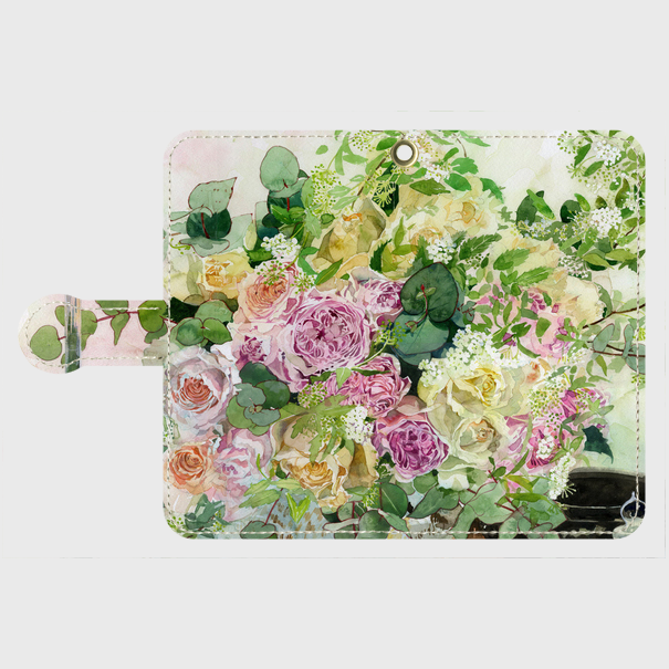 和バラとツマキチョウ 手帳型スマホケース Android Sサイズ