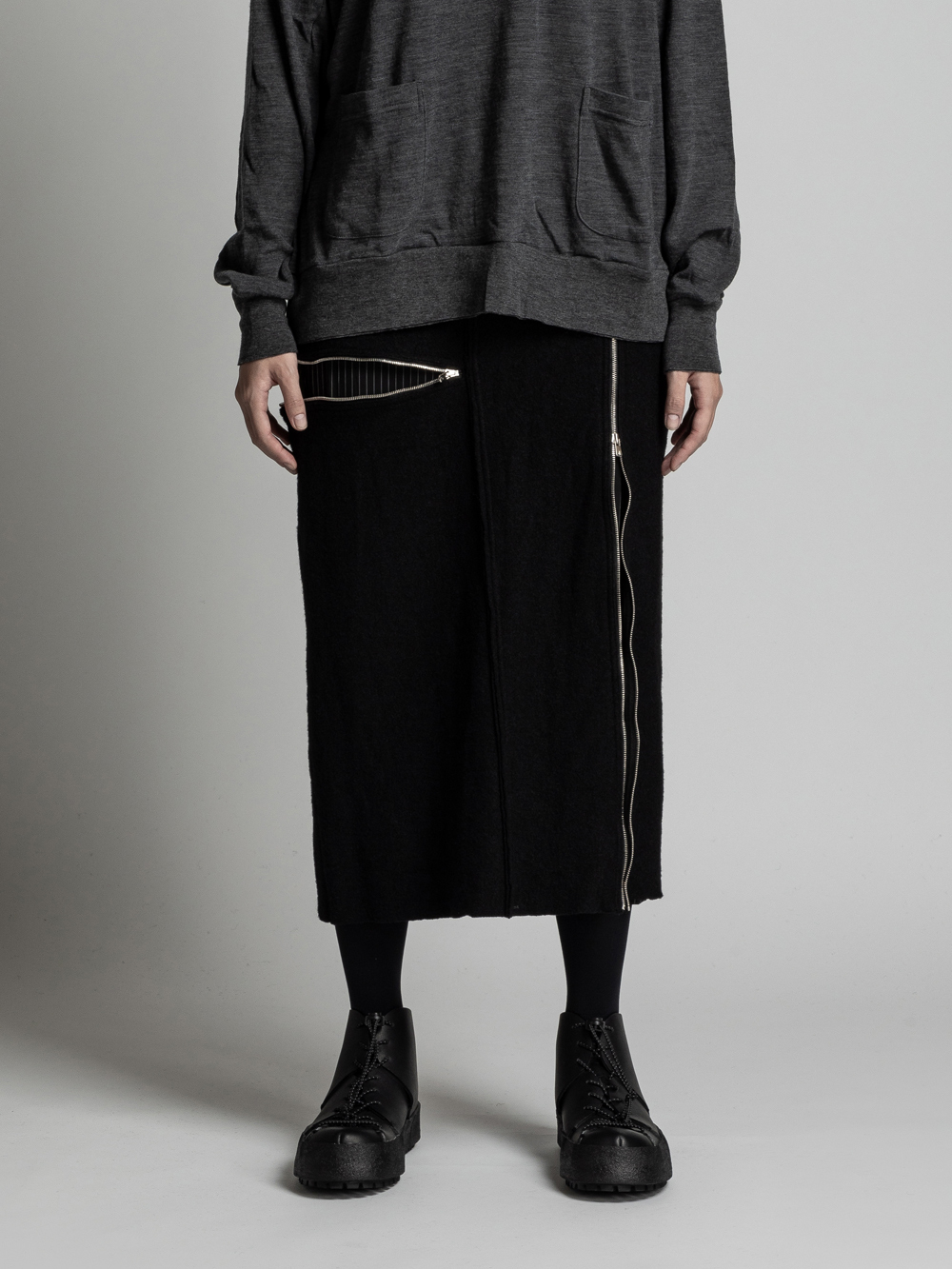 VI-3128-05 / 縮絨ウール ロングスカート