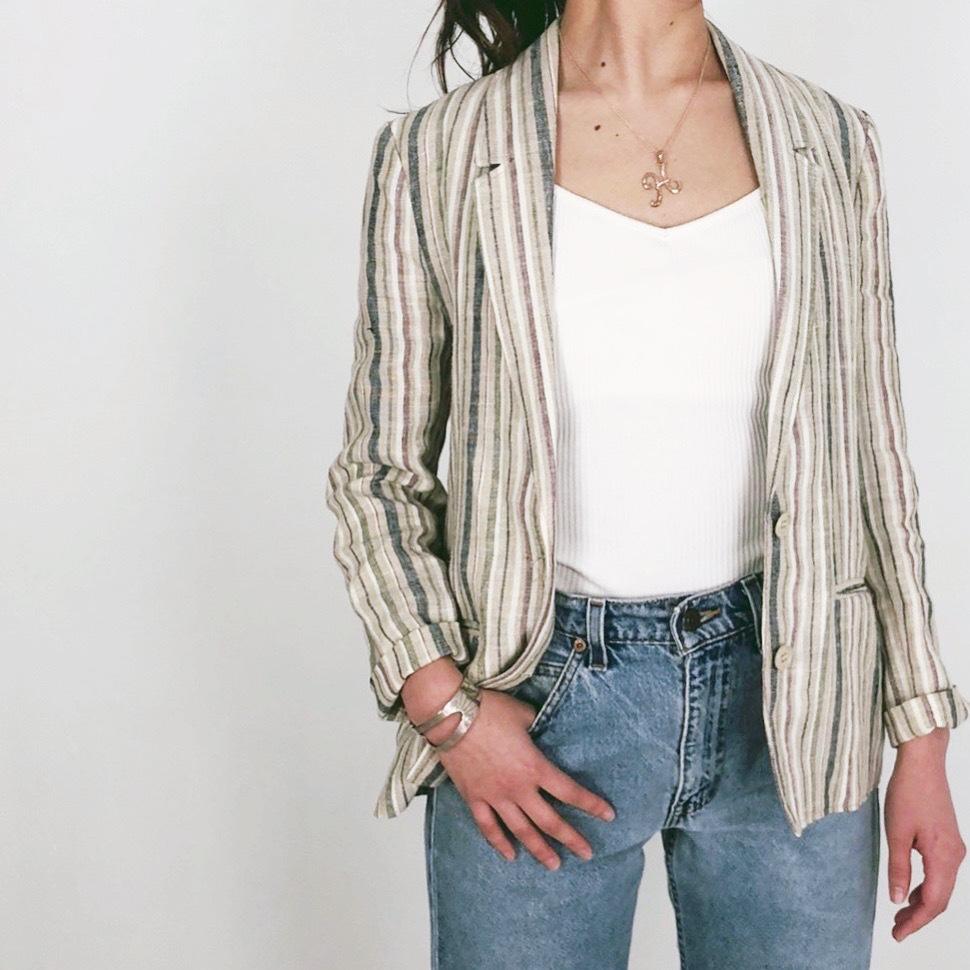 ◼︎90s stripe linen jacket from France◼︎