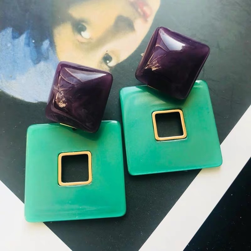 clear stone square earrings