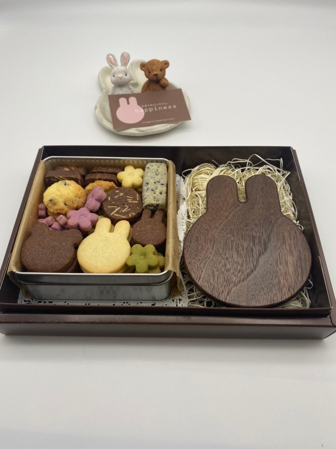 しあわせの宝石箱 うさぎいろいろクッキー缶とコースター単品セット