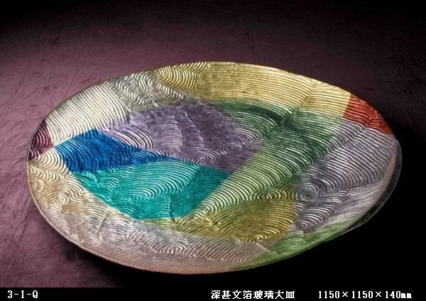 深甚文箔玻璃大皿  ( 1150×1150×140㎜)   3-1-Q