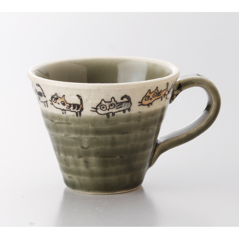 猫マグカップ(散歩猫ミニカップ)緑