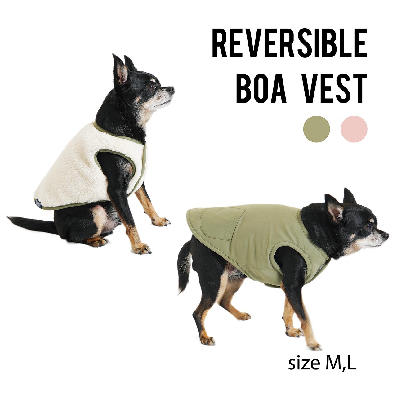 REVERSIBLE BOA VEST(M,L) リバーシブルボアベスト
