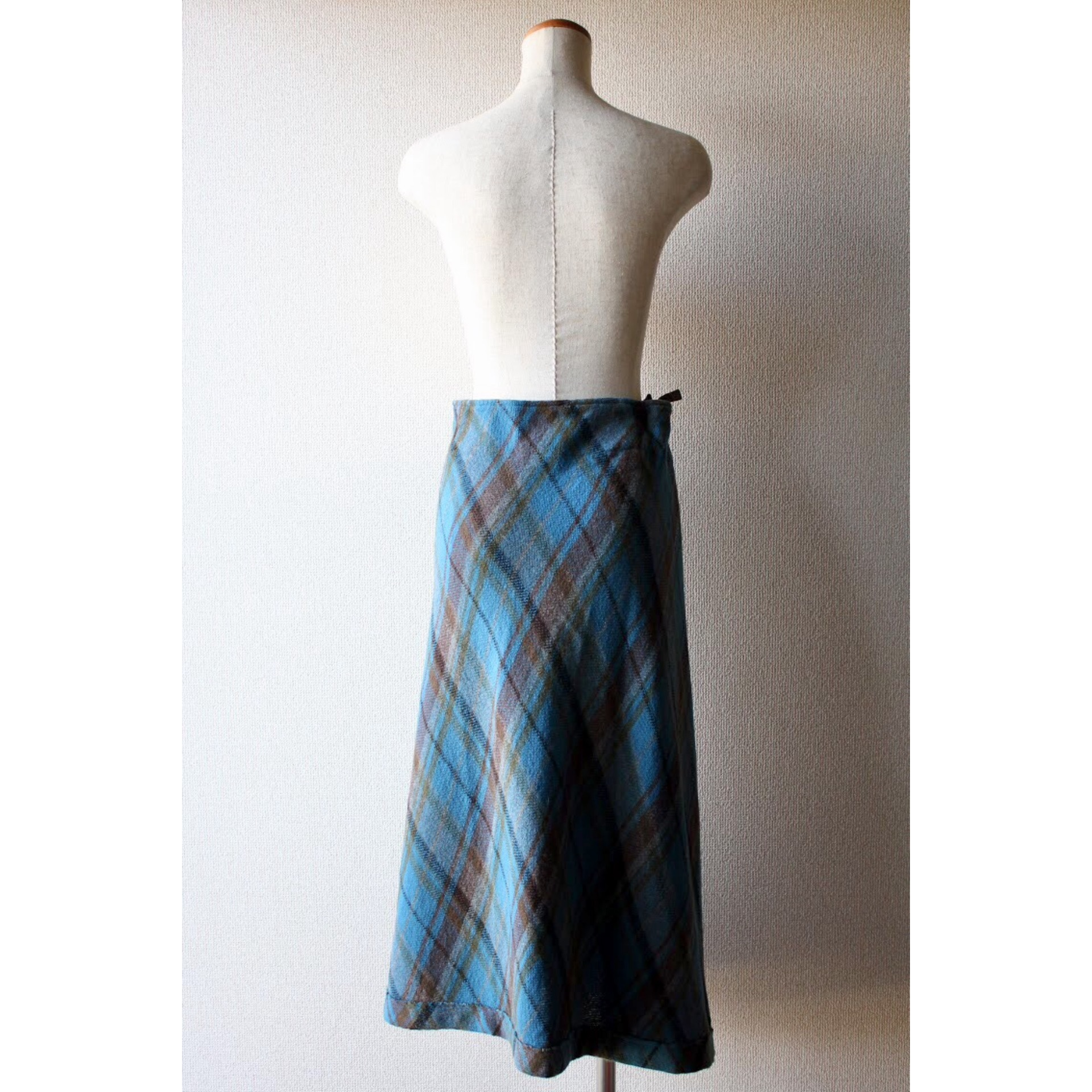 Wrapped check skirt by Y's