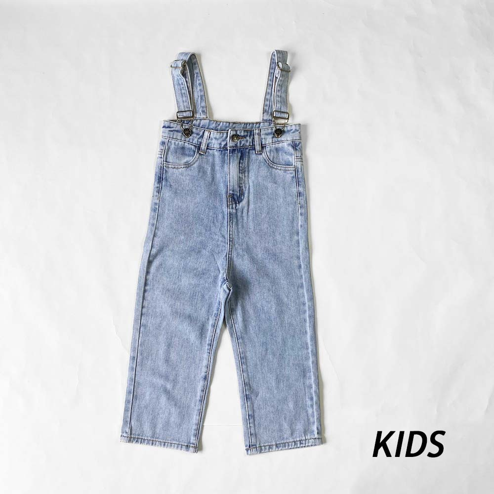 【KIDS】親子おそろいハイウエストデニムサロペット【I016】