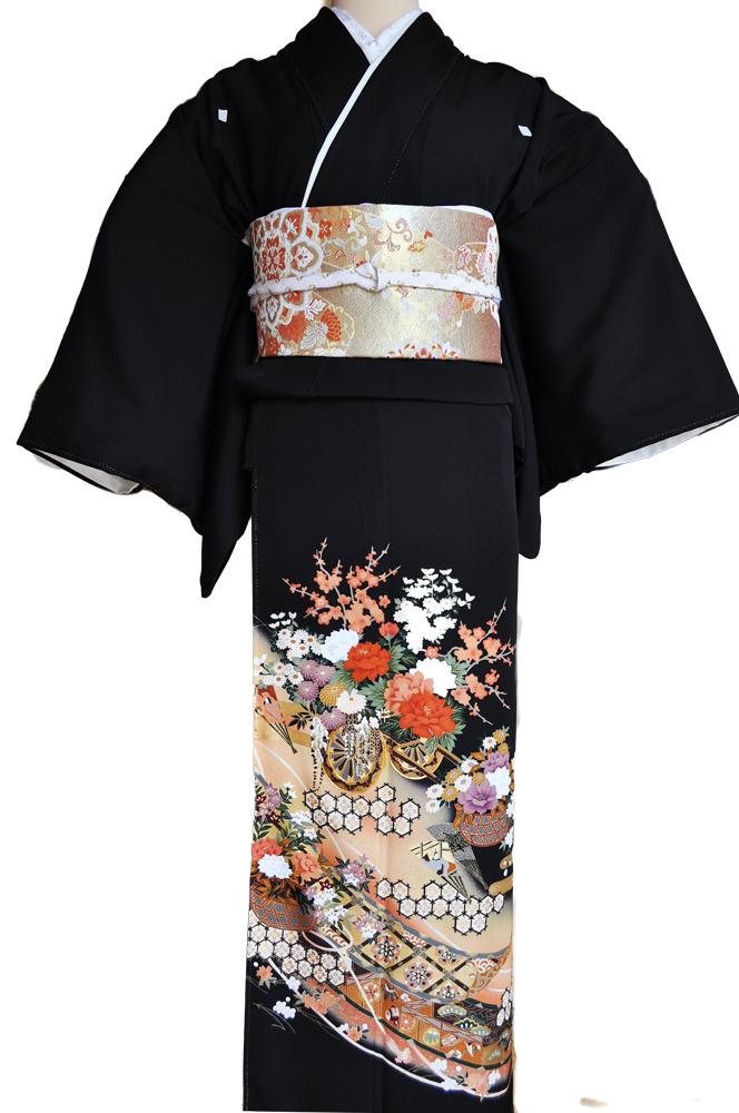 黒留袖レンタル■正絹御所車に赤白の牡丹に菊や桜がにぎやかに■L寸kurot3[往復送料無料] - 画像2