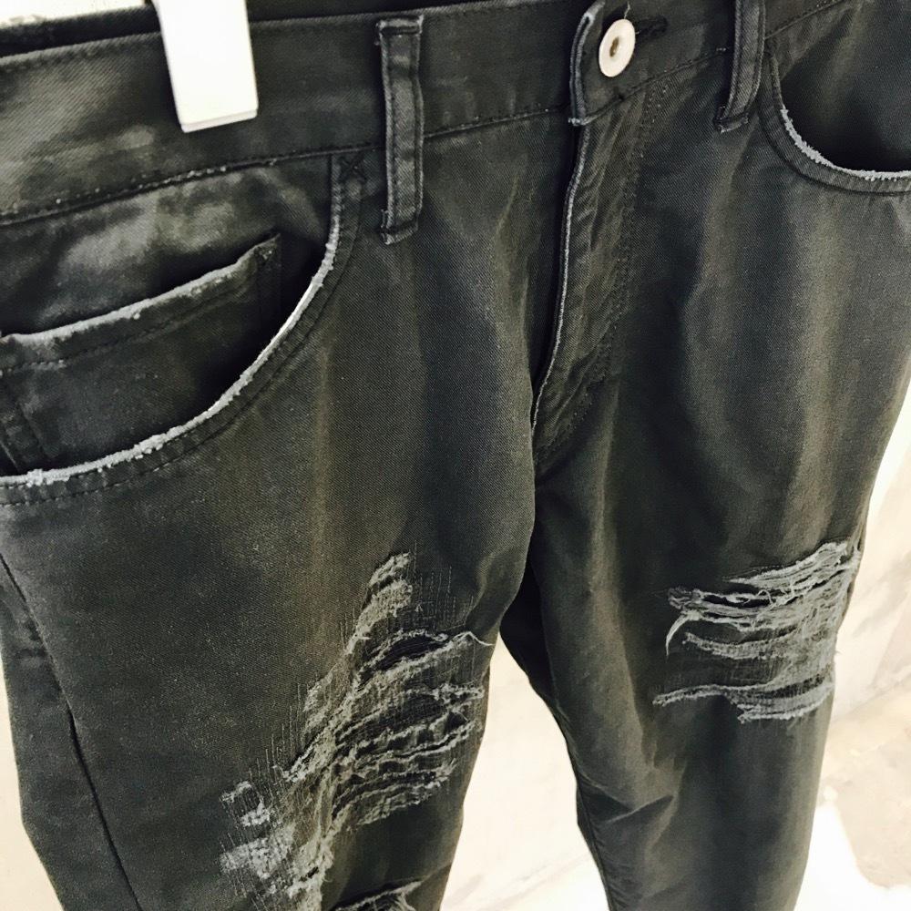 KUON BLACK DENIM with BORO Pants