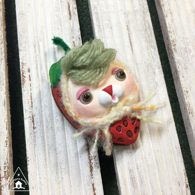 お野菜ちゃんブローチ(いちごちゃん1)