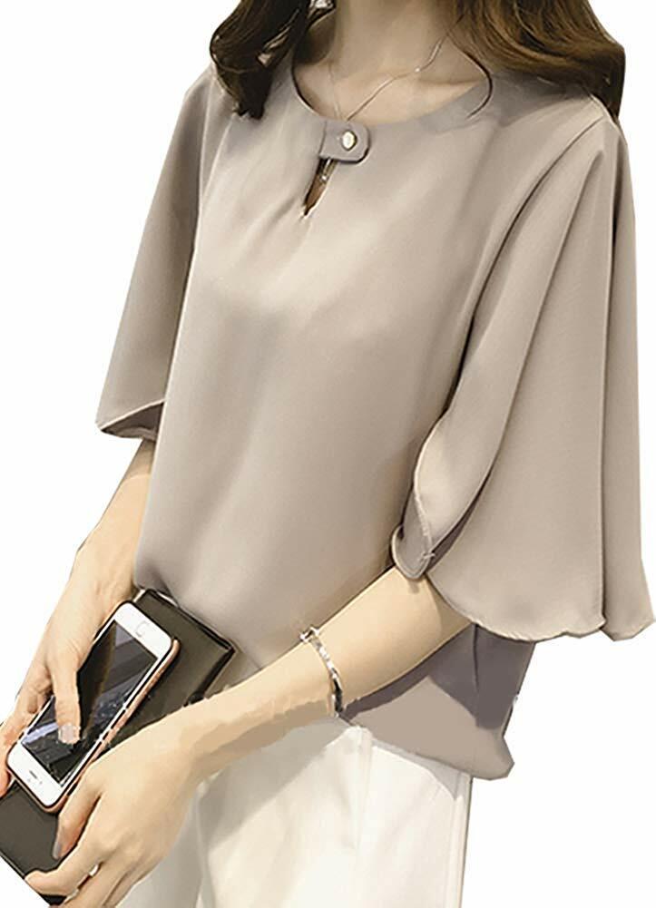 [ニーマンバイ] フレア袖 ドレスシャツ 半袖 とろみ素材 シフォン ブラウス