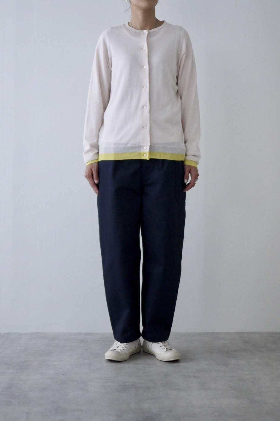 atelier naruse  cotton silk linen crew neck knit-cardigan