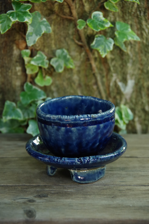 ルリ釉受け付丸植木鉢②【ねぎし よねお】