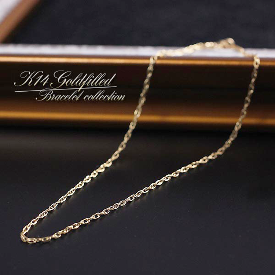 【K14GF】アメリカ製 14金ゴールドフィルド・ルーズロープチェーン ブレスレット