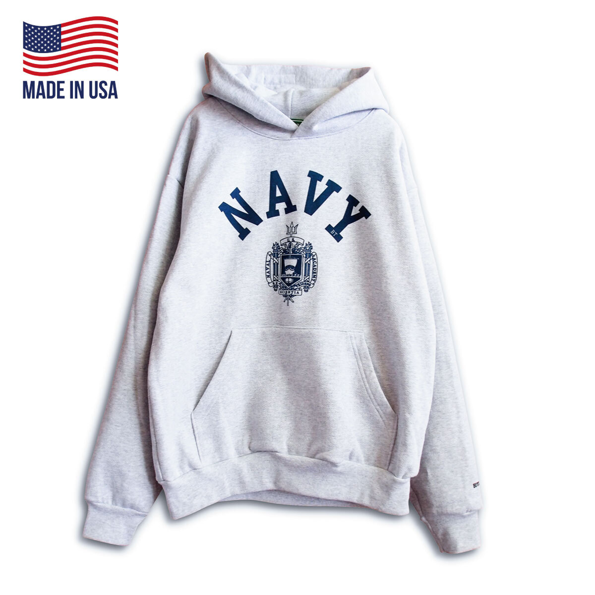 """【BUYING TRIP】""""NAVY NAVAL"""" HEAVY WEIGHT PULL OVER HOODIE (ASH GRAY)"""