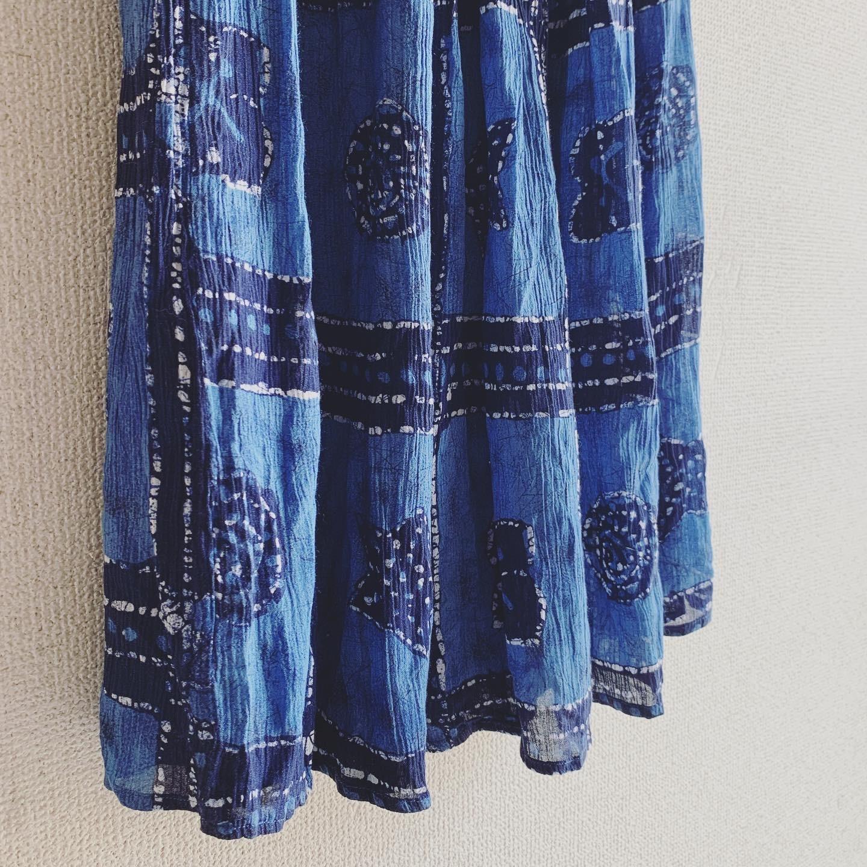 vintage Euro viscose indigo skirt