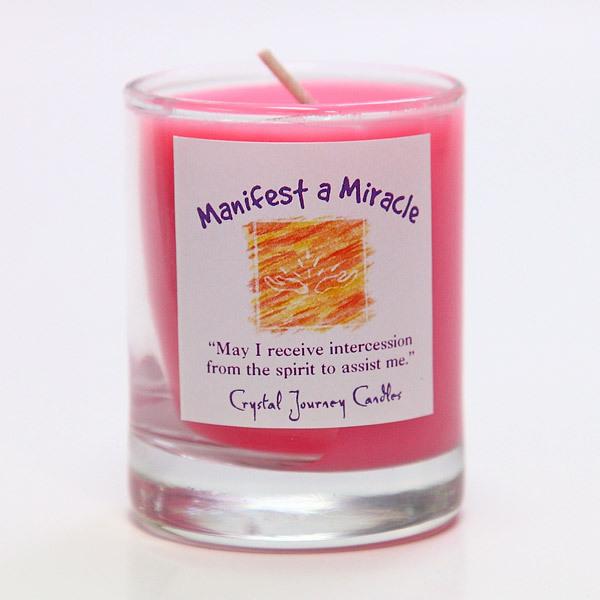 天使の助けを呼び寄せる|魔法のヒーリングキャンドル プチグラス(マニフェスト・ア・ミラクル |奇跡を呼び起こす)【Crystal Journey Candles 】