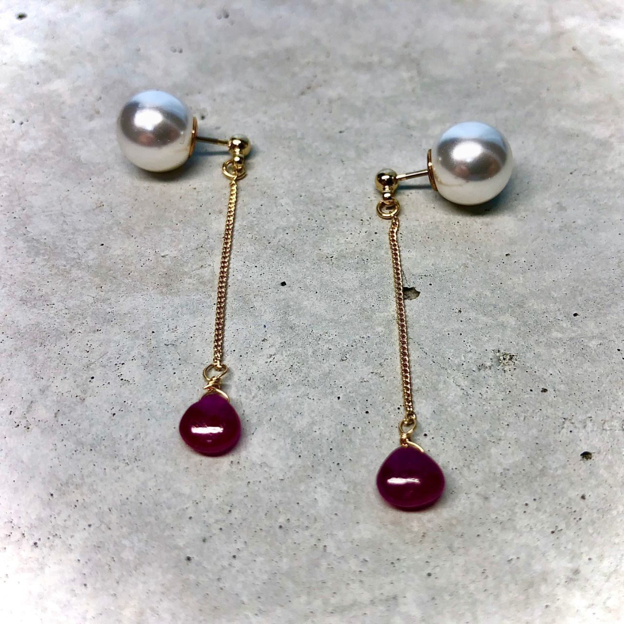 【LP-18BR】Ruby chain pierced  long/short〈再入荷〉                                                                    【LP-19BR】Lapis lazuli chain pierced  long/short