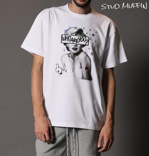 STUD MUFFIN スタッドマフィン WHOAREYOU シークイン 半袖 Tシャツ メンズ トップス ホワイト