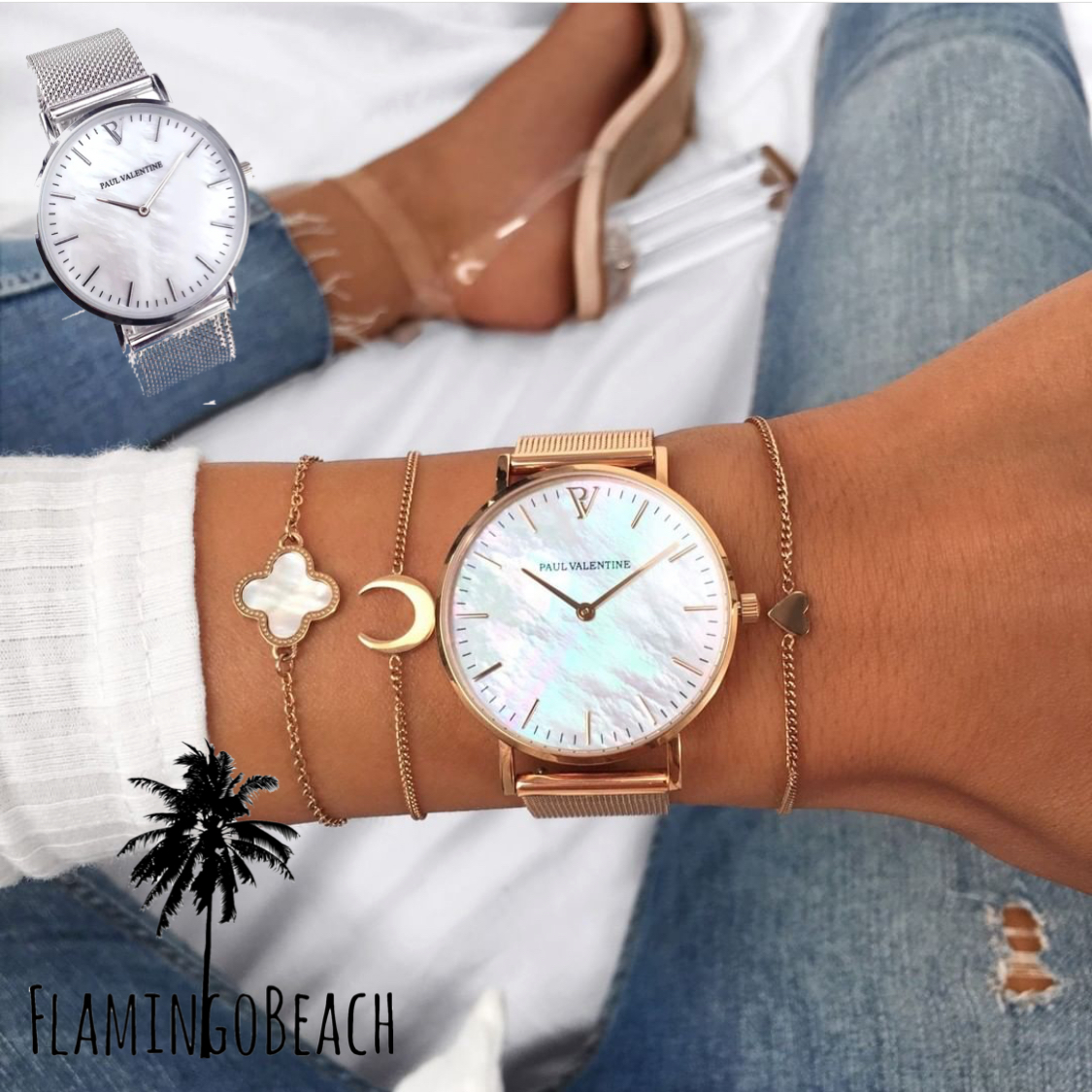 【FlamingoBeach】shell watch シェル 文字盤 腕時計