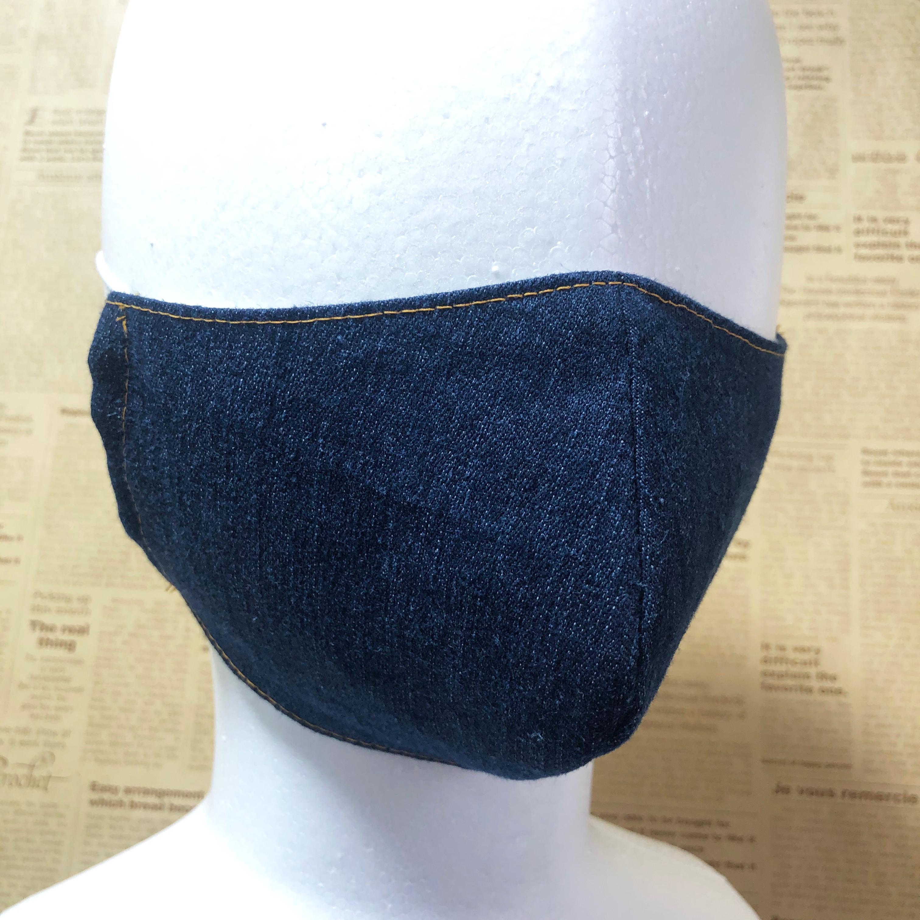 立体マスク 翌日発送 繰り返し利用可能 インディゴブルー デニム 大人サイズ ゴム紐使用