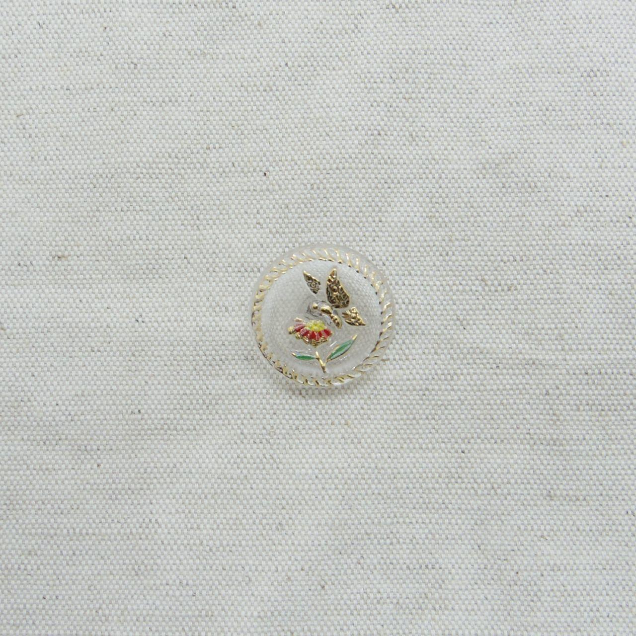 【チェコガラスボタン】花と蝶・赤 ::: 中2.3cm