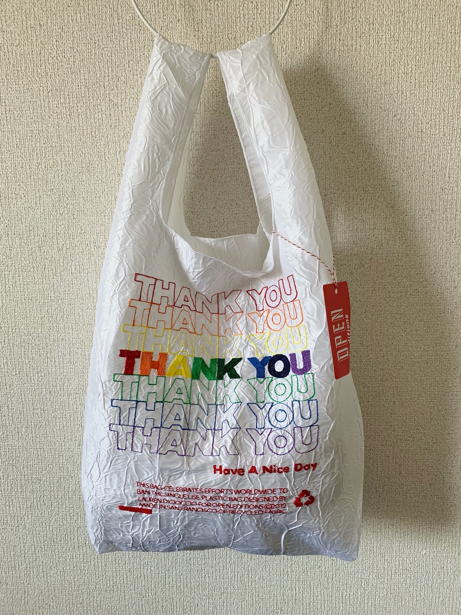 【OPEN EDITIONS】THANK YOU TOTE エコバッグ/ THANK YOU White×Multi