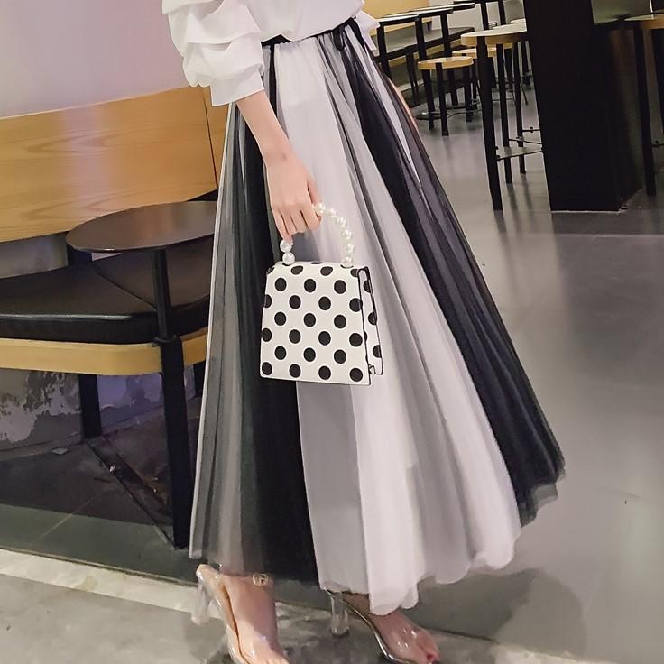 【bottoms】ファッション配色ロングスカート21825328