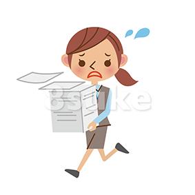イラスト素材:書類を抱えて走るOL・事務職の女性(ベクター・JPG)