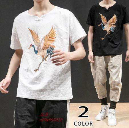 五分袖Tシャツ Tシャツ チャイナ服 鶴柄 5分袖 クルーネック 刺繍 ファッション 夏 メンズ トップス サマー メンズ