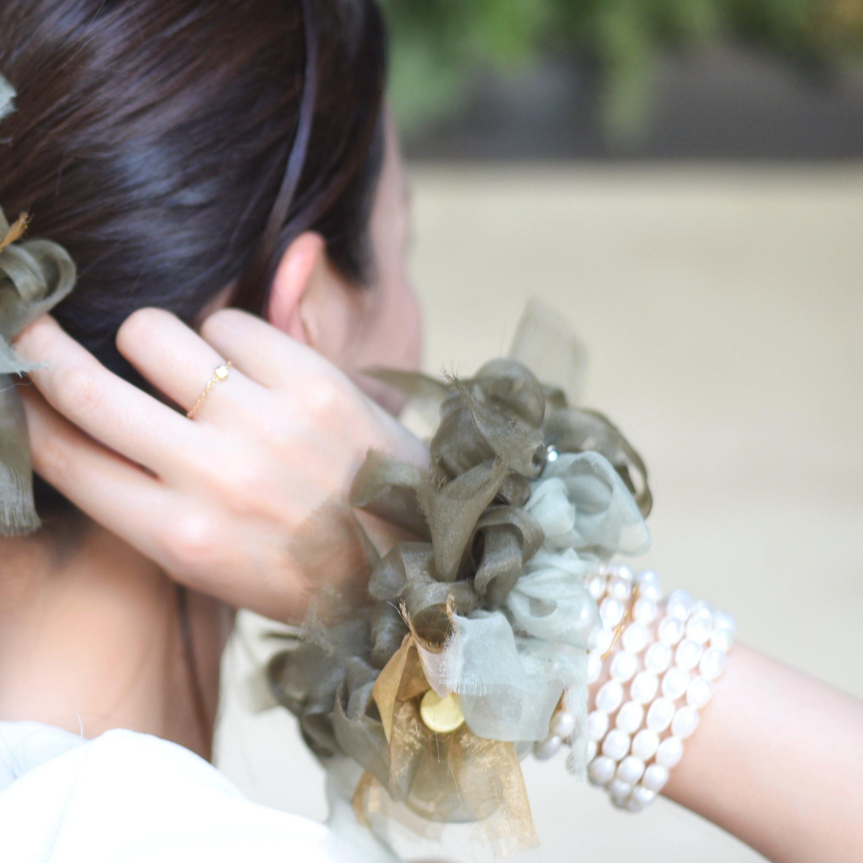 GreenTea~彩る咲き編みシュシュ