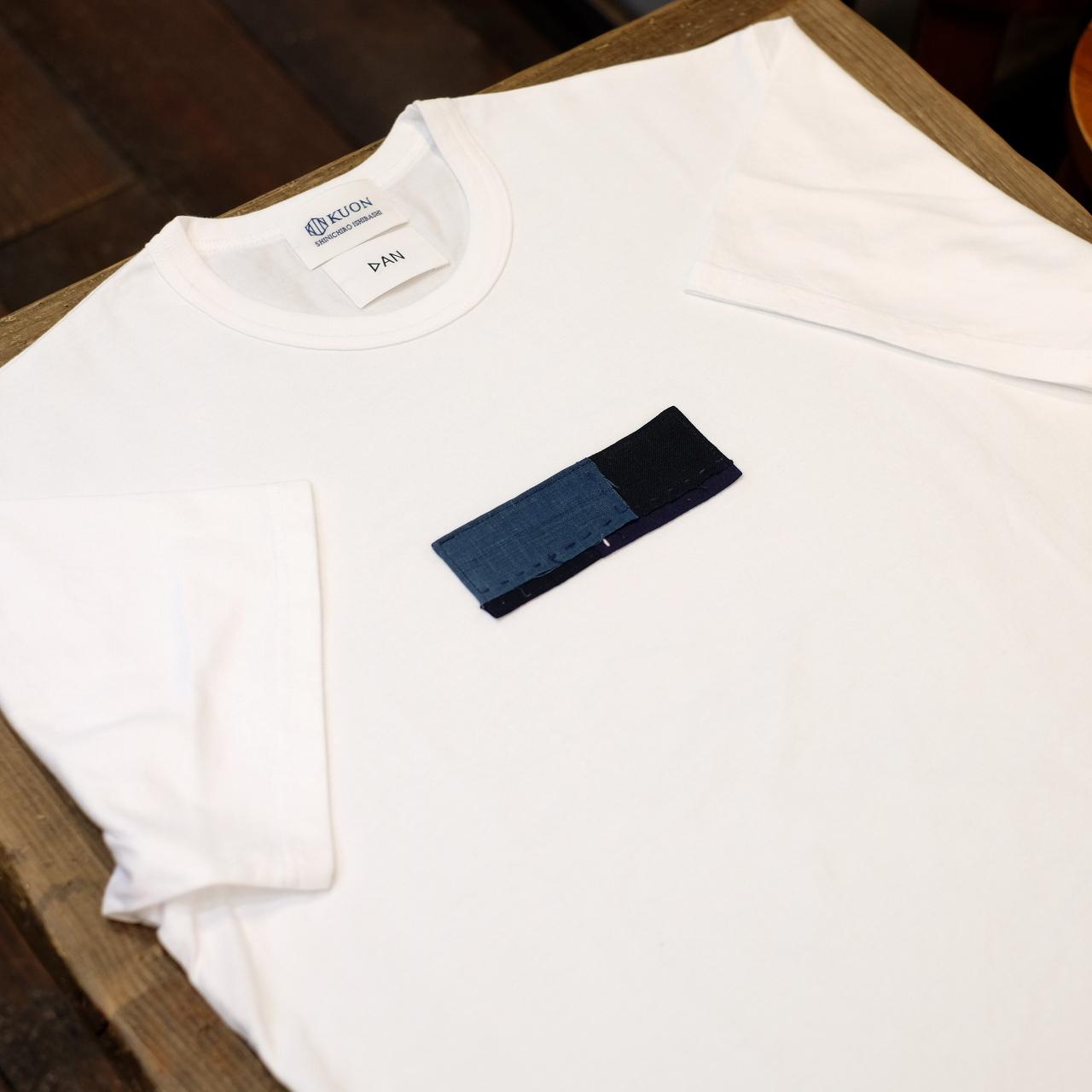 Sサイズ KUON(クオン)×DAN アップサイクル襤褸・胸パッチ半袖Tシャツ