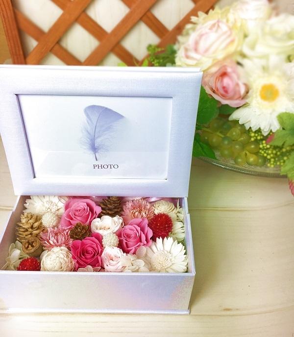 【母の日】フォトフレームBOX プリザーブドフラワー Pink プレゼント お誕生日
